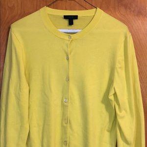 Bright Yellow J Crew Cardigan Large